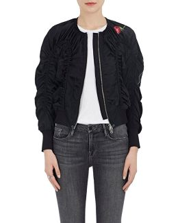 Ruched Silk Flight Jacket