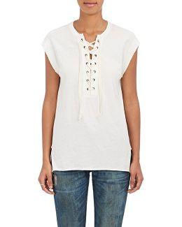 Cotton Lace-up Jersey T