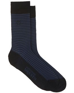 Houndstooth Cotton-blend Mid