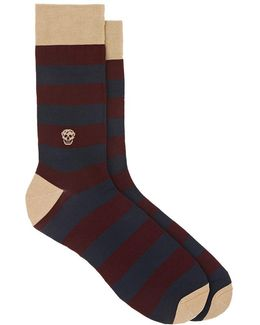 Striped Cotton-blend Mid