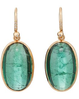 Tourmaline & Diamond Drop Earrings