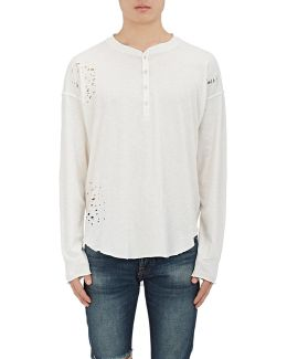 Distressed Cotton Henley Top