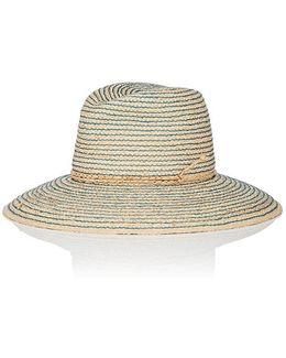 Topstitched Straw Hat