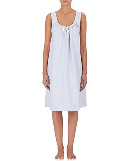 Striped Cotton Oxford Nightgown