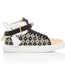 100mm Raffia & Leather Sneakers