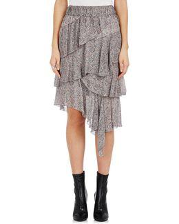 Jeezon Ruffle Floral Crepe Skirt
