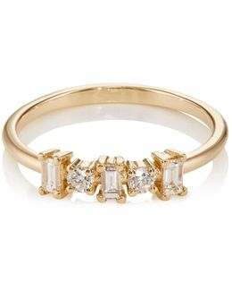 Round & Baguette White Diamond Band