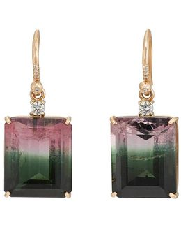 Watermelon Tourmaline & Diamond Drop Earrings