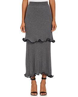 Tiered Wool Maxi Skirt