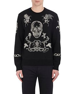 Embroidered Skull And Rose Cotton Sweatshirt