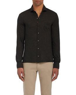 Mélange Lightweight Wool Jersey Button