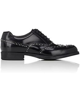 Studded Spazzolato Leather Wingtip Balmorals