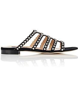 Studded Suede Slide Sandals