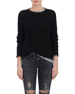 Distressed Cashmere Crewneck Sweater
