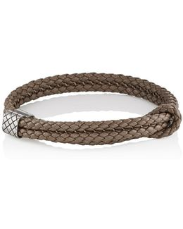 Sterling Silver & Intrecciato Leather Bracelet