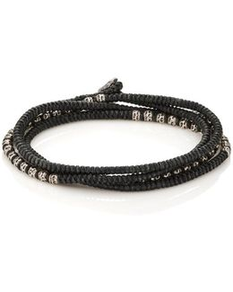 Beads On Knotted Cord Wrap Bracelet