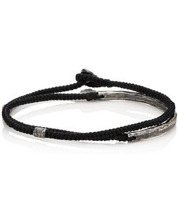 Silver Bar On Knotted Cord Wrap Bracelet