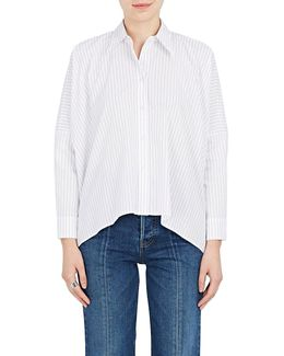 Pinstriped Cotton Boxy Blouse