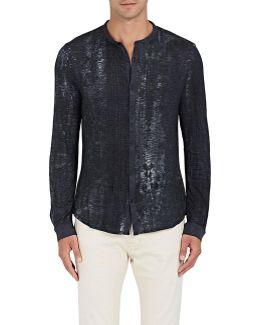 Faded Slub Cotton-blend Button-front T