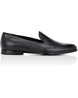 Textured Patent Leather Venetian Slippers