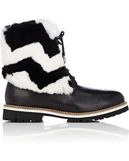 Leather & Rabbit Fur Combat Boots