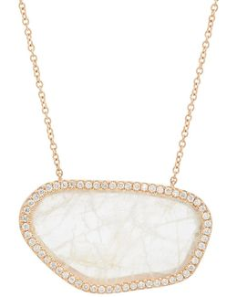 White Diamond & Moonstone Pendant Necklace
