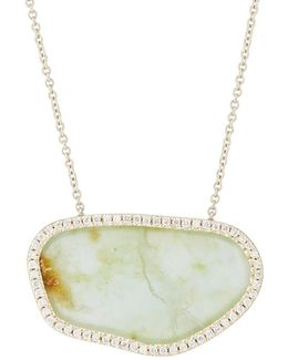 White Diamond & Opal Slice Pendant Necklace