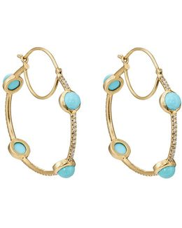 White Diamond & Turquoise Hoop Earrings