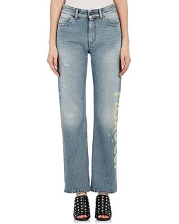 Bella Logo Straight Crop Jeans
