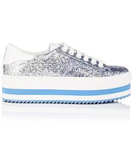 Blue Grand Glitter Platform Sneakers