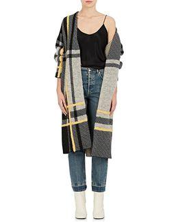 Braid-detailed Plaid Wool