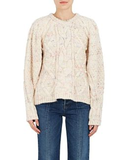 Flecked Cable-knit Wool