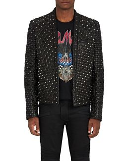 Studded Quilted Leather Waiter's Jacket