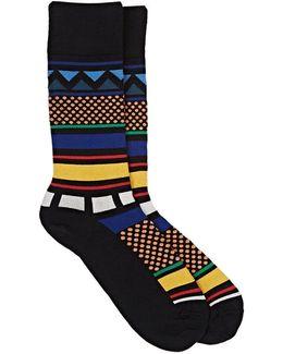 Geometric-patterned Cotton-blend Mid