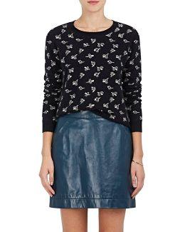 Floral Cashmere Crop Sweater