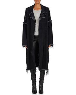 Frayed Denim Oversized Coat