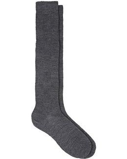 Geometric-pattern Wool-blend Thigh
