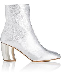 Silver Foiled Leather Curved Heel Boots