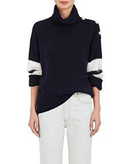 Stripe-sleeve Wool
