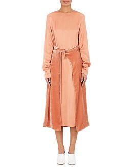 Crepe & Velvet Wrap Dress