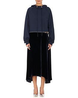Cotton Terry & Velvet Hoodie Dress
