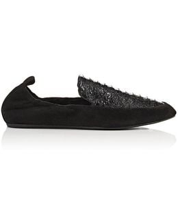 Suede & Python Slippers