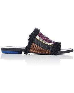 Fringed Raffia & Leather Slides