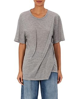 Architecturally Pleated Wool T