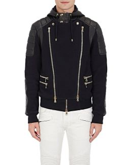 Leather & French Terry Moto Jacket
