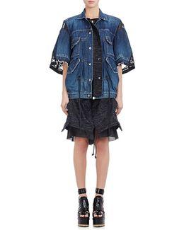 Denim & Embroidered Organza Layered Dress