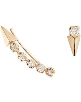 Mismatched White Diamond & Yellow Gold Earrings
