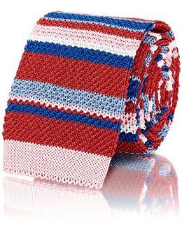 Striped Crochet-knit Necktie