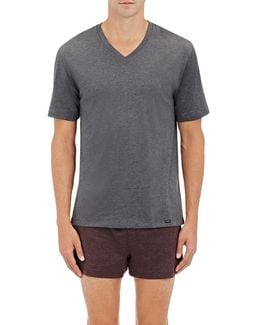Mélange Cotton V-neck T