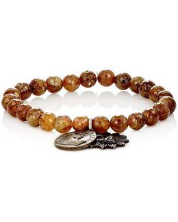 Garnet Bead & Charm Bracelet